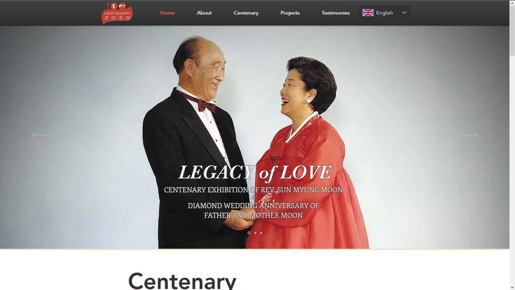 Image from www.legacyoflove.org Centenary of Rev. Sun Myung Moon (1920-2012) & the Diamond Wedding Anniversary of Father and Mother Moon